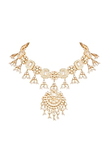 Gold Finish Blue Meenakari Polki Jadtar Choker by Just Jewellery