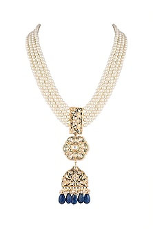 Gold Finish Blue Meenakari & Thewa Jadtar Pendant Necklace by Just Jewellery
