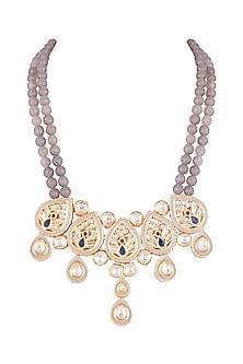 Gold Finish Peacock Meenakari & Polki Jadtar Necklace by Just Jewellery