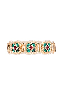 Gold Finish Semi-Precious Red & Green Jadtar Bangle by Just Jewellery