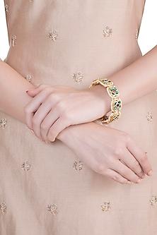 Gold Finish Semi-Precious Red & Green Jadtar Bangle by Just Jewellery
