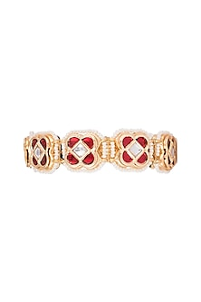 Gold Finish Semi-Precious White & Red Jadtar Bangle by Just Jewellery