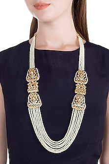 Gold Finish Thewa Jadtar Semi-Precious Pearls Necklace by Just Jewellery