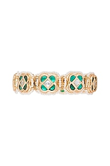 Gold Finish Semi-Precious White & Green Jadtar Bangle by Just Jewellery