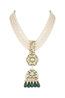 Gold Finish Green Meenakari & Thewa Jadtar Pendant Necklace by Just Jewellery