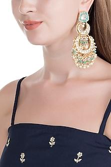 Gold Finish Blue Meenakari Jadtar Chandbali Earrings by Just Jewellery