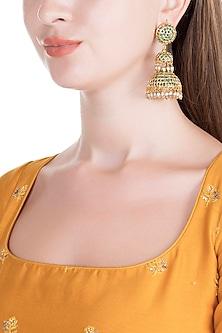 Gold Finish Semi-Precious Green Stones Jadtar Jhumka Earrings by Just Jewellery