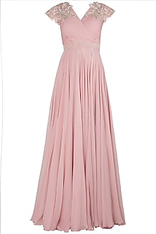 Pink Embroidered Pleated Gown