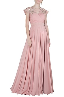 Pink Embroidered Pleated Gown by Julie by Julie Shah