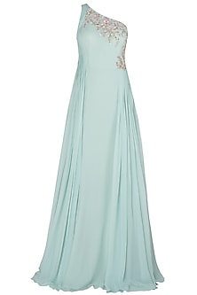 Mint Green Side Pleated One Shoulder Embroidered Gown