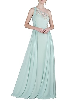 Mint Green Side Pleated One Shoulder Embroidered Gown by Julie by Julie Shah