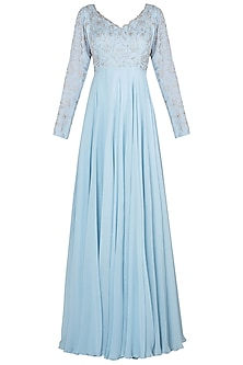 Blue Embroidered Anarkali by Julie by Julie Shah