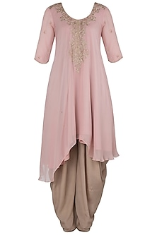 Pink Asymmetrical Embroidered Kurta Set by Julie by Julie Shah