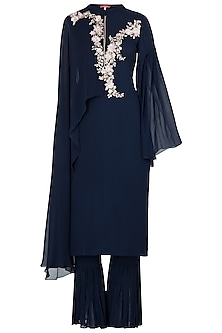 Blue Embroidered Jumpsuit