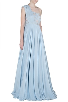Powder Blue Embroidered One Shoulder Pleated Gown by Julie by Julie Shah
