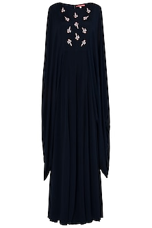 Navy Blue Embroidered Cape Jumpsuit