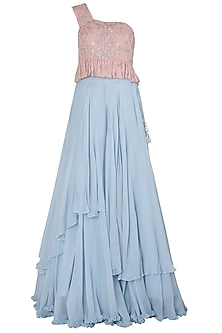 Pink Off Shoulder Top with Blue Layered Skirt