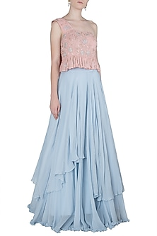 Pink Off Shoulder Top with Blue Layered Skirt by Julie by Julie Shah