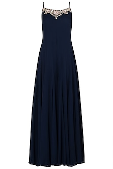 Navy Blue Side Pleated Embroidered Jumpsuit