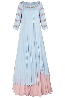 Blue and Pink Embellished Kurta Set