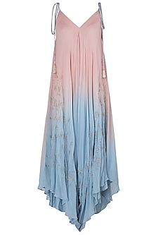 Pink and Blue Embroidered Dhoti Style Jumpsuit