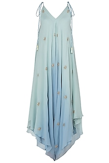 Mint Green and Blue Embroidered Dhoti Style Jumpsuit