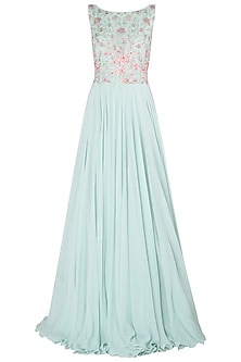 Mint Green Embellished Gown by Julie by Julie Shah