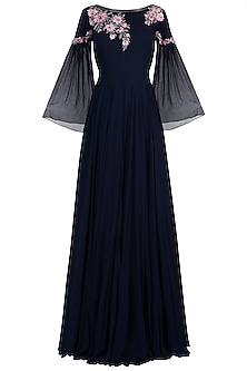 Navy Blue Embroidered Gown by Julie By Julie Shah