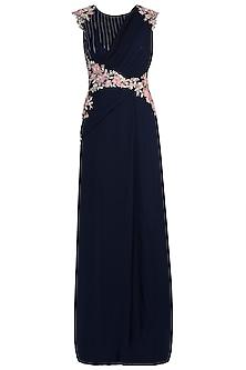 Navy Blue Pre Drape Gown