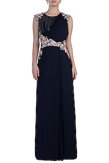 Navy Blue Pre Drape Gown by Julie By Julie Shah