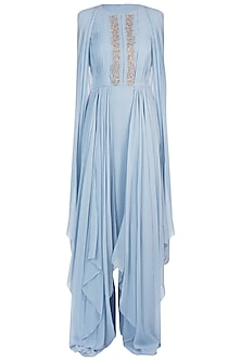 Blue Embroidered Asymmetrical Tunic and Palazzo Pants