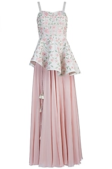 Pink Embroidered Peplum Top with Skirt