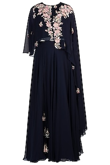 Navy Blue Embroidered Top with Skirt