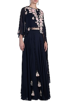 Navy Blue Embroidered Top with Skirt by Julie By Julie Shah