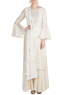 White Embroidered Kurta Set by Julie by Julie Shah