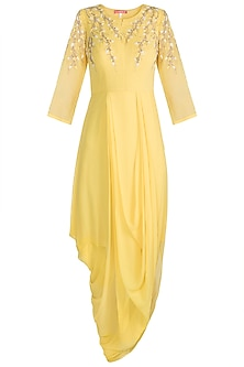 Yellow Embroidered Draped Tunic by Julie by Julie Shah