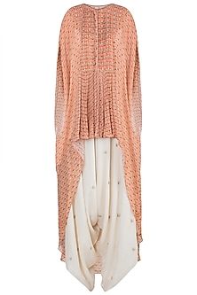 Peach Embroidered Printed Kaftan With Dhoti Pants by Julie by Julie Shah