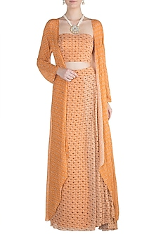 Orange Embroidered Printed Bustier With Skirt & Cape by Julie by Julie Shah