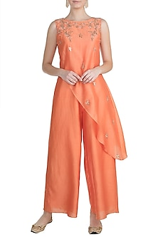 Orange Embroidered Asymmetric Tunic Jumpsuit by Julie by Julie Shah