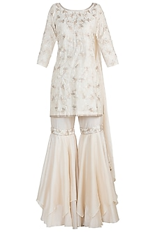 White Embroidered Pre-Draped Kurta With Sharara Pants by Julie by Julie Shah