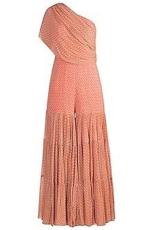 Peach Printed One Shoulder Sharara Jumpsuit by Julie by Julie Shah