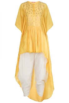 Yellow Embroidered Kaftan With Dhoti Pants by Julie by Julie Shah