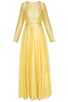 Yellow Embroidered Angrakha Kalidar Anarkali Gown by Julie by Julie Shah