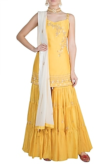 Yellow Embroidered Tiered Sharara Set by Julie by Julie Shah