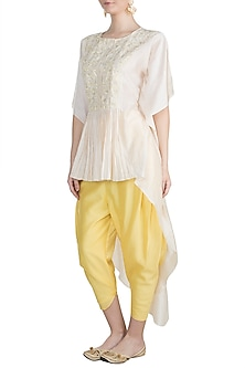 White Embroidered Kurta With Yellow Dhoti Pants by Julie by Julie Shah