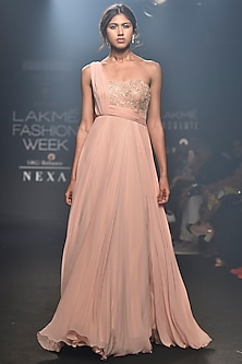 Pink Embellished One Shoulder Drape Gown by Julie by Julie Shah