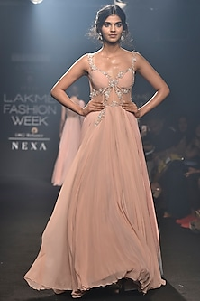 Pink Blue Embroidered Gown with A Shaded Trail by Julie by Julie Shah