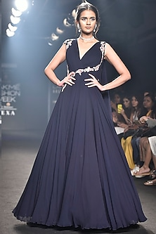 Navy Blue Patch Work and Pleated Gown by Julie by Julie Shah