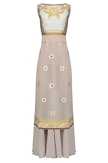 Grey Thread Embroidered Sleeveless Kurta Set With Flared Skirt