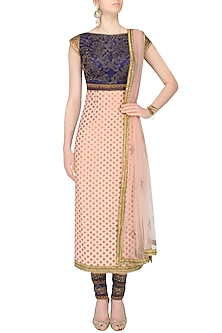 Pink And Blue Crystal Lace Embroidered Kurta Set by JJ Valaya